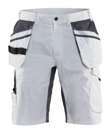 Blaklader 1099 Ripstop Painters Shorts with Stretch (White/Dark Grey)